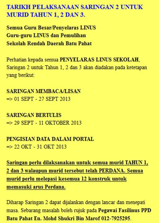 LINUS Lisan Saringan 2 2013